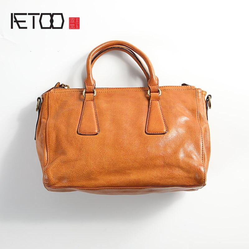 Aetoo artesanal couro bolsa feminina, couro macio vento vintage senhoras bolsa de ombro, casual moda inclinada saco