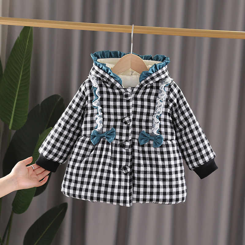 Baby Girl Clothes Kids Winter Jacket For Kids Girls Solid Hooded Baby Winter Plaid Coat Cute Warm Baby Winter Jackets Girls