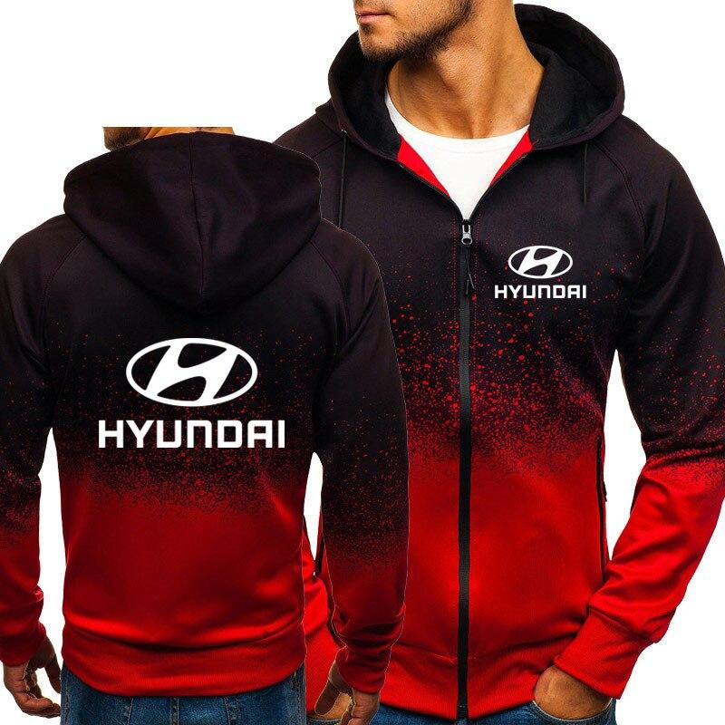 Hoodies Men Hyundai Motor Car Logo Print Casual HipHop Harajuku Gradient color Hooded Mens Fleece Sweatshirts Mens zipper Jacket