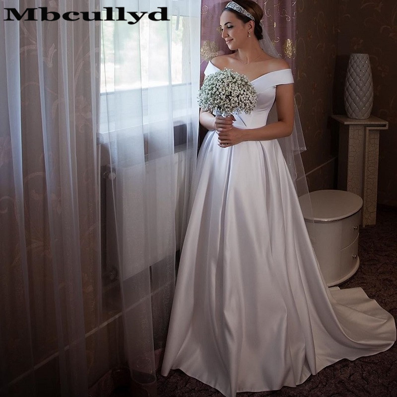 Mbcullyd Off Shoulder Wedding Dresses Long 2020 Sexy Backless Korea Church Gowns For Women Cheap Plus Size vestidos de novia