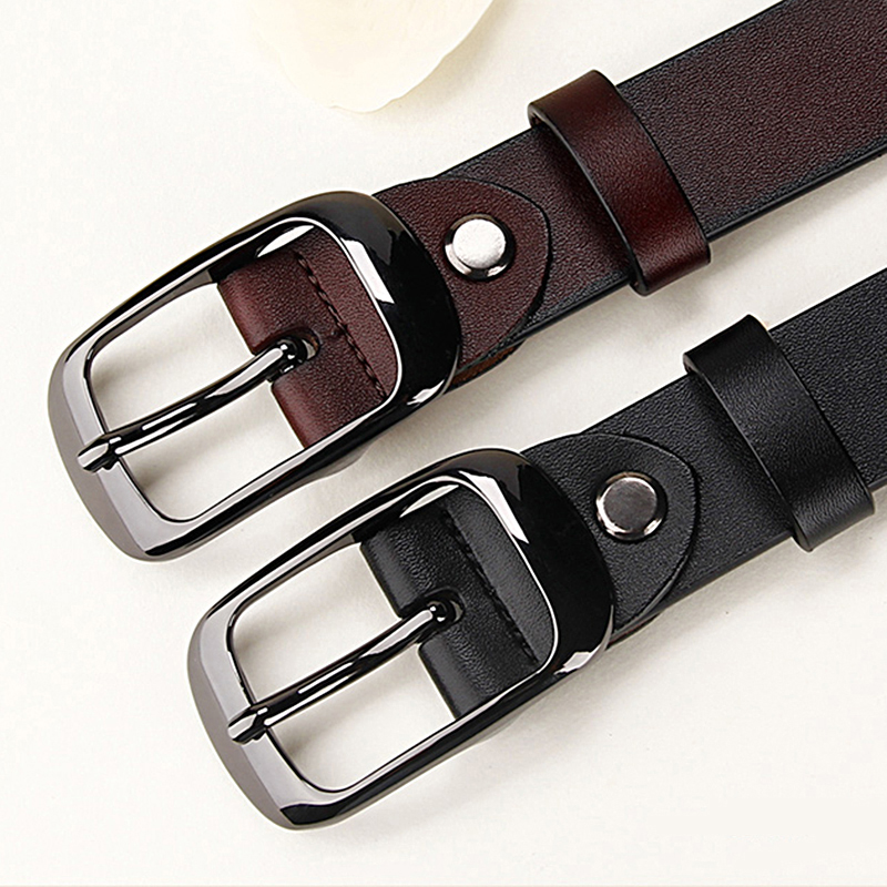 Women's Genuine Leather Fashion Retro Belt High Quality Luxury Brand Ladies Metal Double Buckle New Belt With Jeans