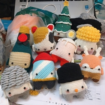 3 combination adorable handmade puller doll crochet toy gifts best birthday gifts (finished, not diy) plush knit dolls