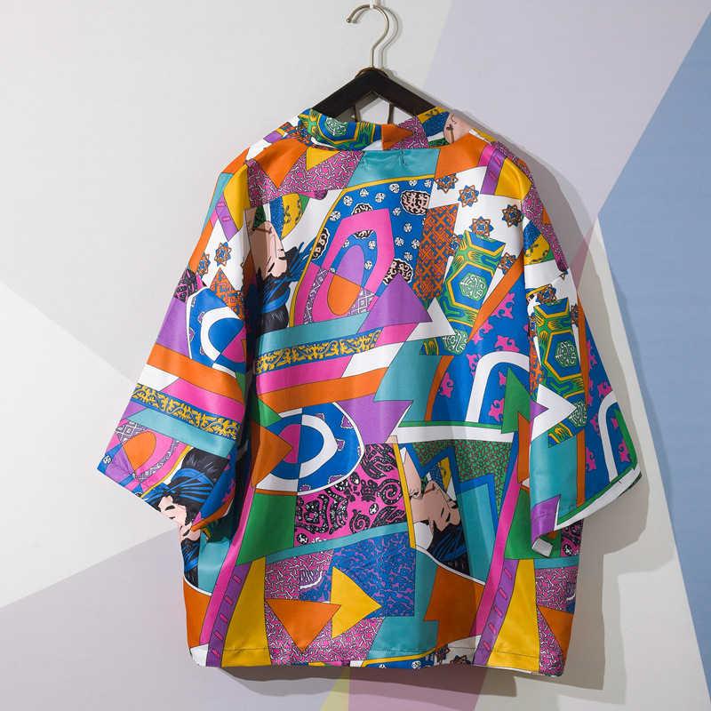Women Men Traditional Japanese Style Kimono Ukiyo-e Print Cardigan Yukata T Shirt Coats Haori Harajuku Blouse Ao Dai Streetwear