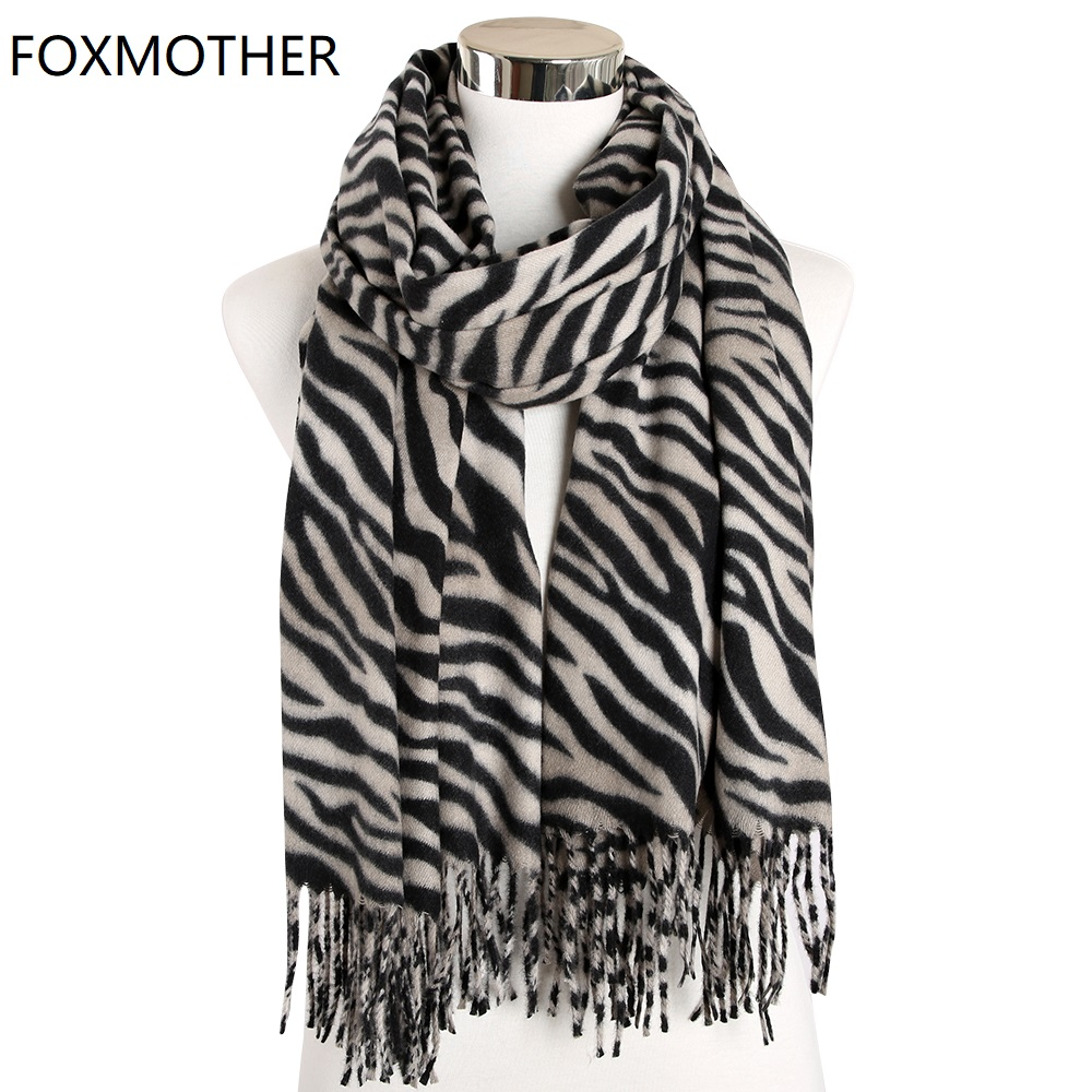 FOXMOTHER New Fashion Ladies Foulard Zebra Animal Print Shawl Wrap Cashmere Scarves With Tassel Winter Scarf For Women Mens Gift