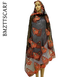 Image 3 - New African Women Scarf Good Quality Plain Embroidery with Stones Soft Net Scarf for Headscarf Wraps BM955