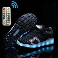 Boyutu 25-37 aydınlık Sneakers erkek çocuklar için RF kontrol rahat ayakkabılar Unisex Led ışık Up ayakkabı kız kanca döngü parlayan spor ayakkabı