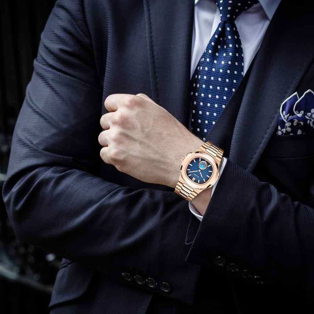 بلادن رجال الأعمال ساعة فاخرة فساتين راقية ساعة اليد الكوارتز رجالي الفولاذ المقاوم للصدأ حزام التدرج الأزرق مقاوم للماء ساعة guccy