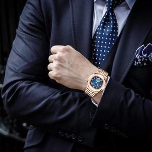 Image 4 - PLADEN benzersiz izle erkekler lüks altın erkek saatler Top marka lüks paslanmaz çelik erkek moda mavi quartz saat hediyeler erkekler için
