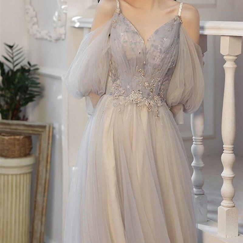 Elegant Spaghetti Strap V Neck Beaded Tulle Bubble Sleeve Prom Dress Long Floor Length Party Gown for Women Custom Evening Dress