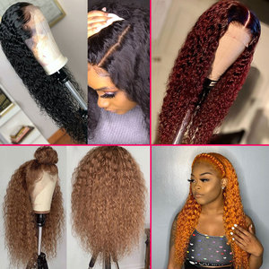 Colored 13x6 Deep Part Burgundy Lace Front Human Hair Wigs Ombre Brown Ginger Brazilian Water Wave Wig Remy Glueless Red 99j Wig(China)