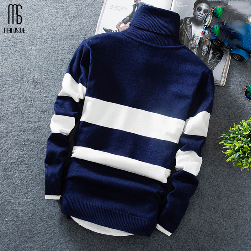 Manoswe Autumn Winter Men's Fashion Turtleneck Pullovers Sweater Knitted Long Sleeve Stripe Casual Youth Slim Soft Men Clothes