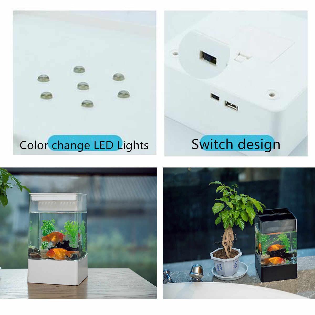 Neue Schwarz/Weiß Aquarium Mit LED Licht USB Mini Platz Aquarium Aquarium Ökologischen Acryl Fisch Box Büro desktop Fisch schüssel