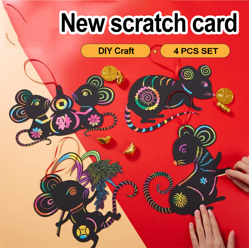 4Pcs Magic Scratch Drawing Toys Set Painting Children's Toys Kindergarten Diy Learning Education Crafts Kids Toys For Girls Toys