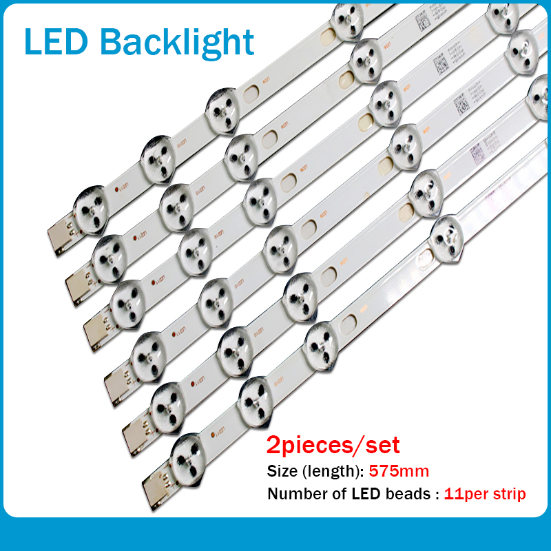 10pcs X 32 Inch LED Backlight Strip Replacement For VESTEL 32D1334DB VES315WNDL-01 VES315WNDS-2D-R02 VES315WNDA-01 11-LEDs 574mm