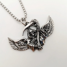 New Vintage silver color 316L stainless steel Wings Grim Reaper necklace pendant skeleton skull punk hip hop necklace