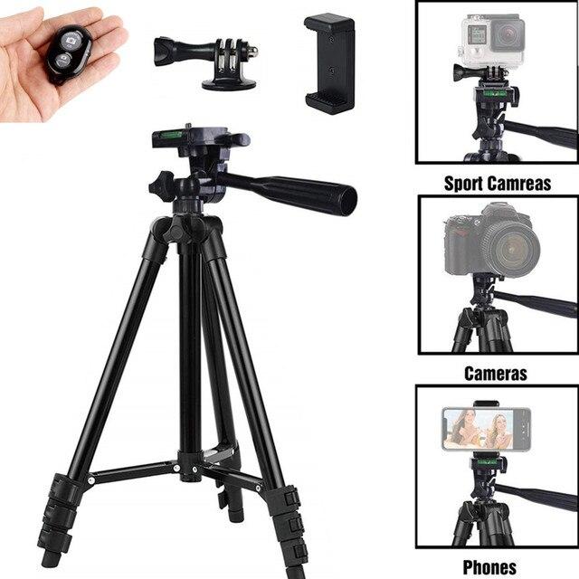 Trípode Selfie Stick para Selfie teléfono móvil fotografía y vídeo iluminación Base portátil soporte Smartphone trípode móvil