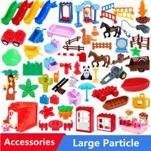 Partículas grandes Blocos de Construção Trilhos Móveis Casa Acessórios Compatíveis Com Duploed Cavalo Slide Dinossauro Brinquedos Para As Crianças