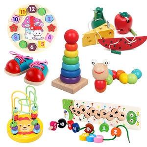 Image 1 - モンテッソーリベビー木製おもちゃワームフルーツチーズ木のおもちゃベビーキッズ教育玩具ロープピアスモンテッソーリおもちゃギフト