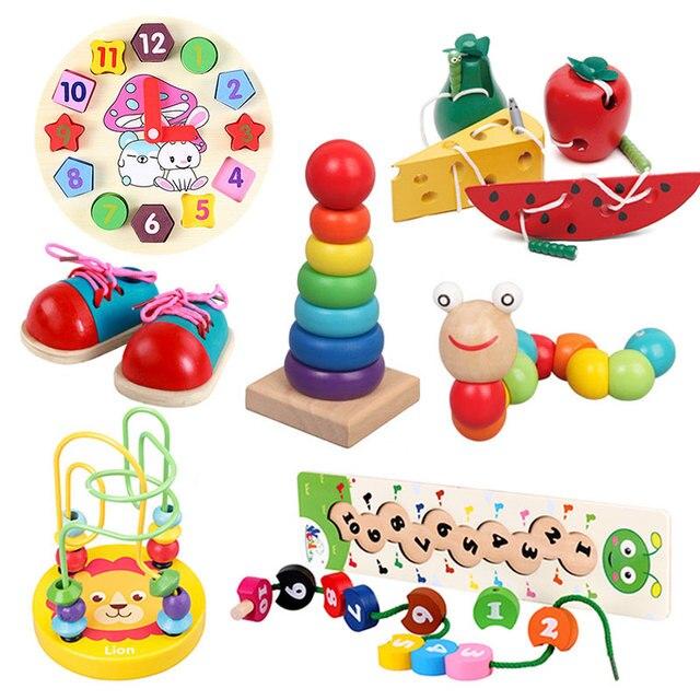 モンテッソーリベビー木製おもちゃワームフルーツチーズ木のおもちゃベビーキッズ教育玩具ロープピアスモンテッソーリおもちゃギフト