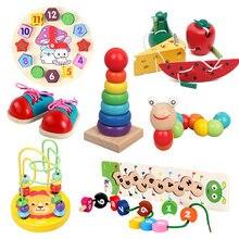 Montessori dziecko drewniane zabawki robak jeść owoce ser drewno zabawki dla dzieci zabawki edukacyjne dla dzieci Rope piercing zabawki Montessori prezenty