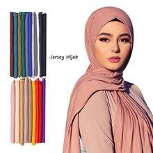 Mode Coton Modal Jersey Hijab Écharpe Longue Musulmane Châle Plaine Doux Turban Cravate Bandeau Pour Femmes Afrique Bandeau 170x60cm
