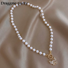 Pearl Necklace Costume-Accessories Butterfly Pendant Zircon Clavicle-Chain Gift Women Jewelry