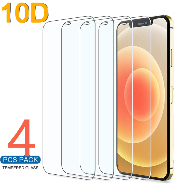 10D 4PCS Protective Glass On the For iPhone 7 8 6 6s Plus X Screen Protector For iPhone 11 12 13 Pro X XR XS MAX SE 5 5s Glass 1