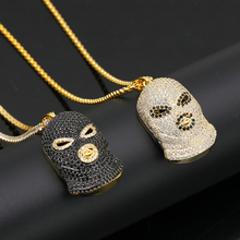 Fashion Creative Nightclub Bar Evil Force Black Face Anti-Terror Hip-Hop Rap Dance Boy Zircon High Quality Necklace
