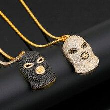 цена Fashion Creative Nightclub Bar Evil Force Black Face Anti-Terror Hip-Hop Rap Hip-Hop Dance Boy Zircon High Quality Necklace онлайн в 2017 году