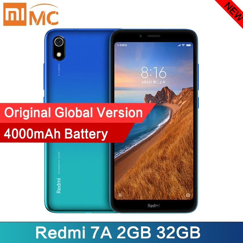 Смартфон Xiaomi Redmi 7A с глобальной версией, 2 Гб, 32 ГБ, Восьмиядерный процессор Snapdargon 5,45 HD 439, аккумулятор 4000 мА · ч, долгий режим ожидания, мобильный телефон