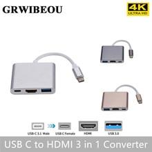 Grwibeou adaptador usb c para hdmi tipo c, conversor hdmi para usb 3.1 para hdmi usb 3.0 tipo c mac air pro huawei mate10 samsung s8,