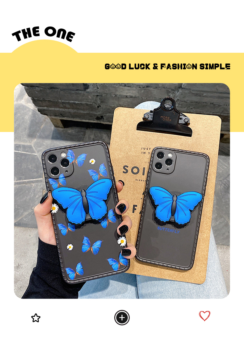 Luxury Beautiful Blue 3D Butterfly Bracket Phone Case For IPhone 7 8 Plus X XR Xs Max 12 11 Pro Max SE2 Soft Silicon Cover