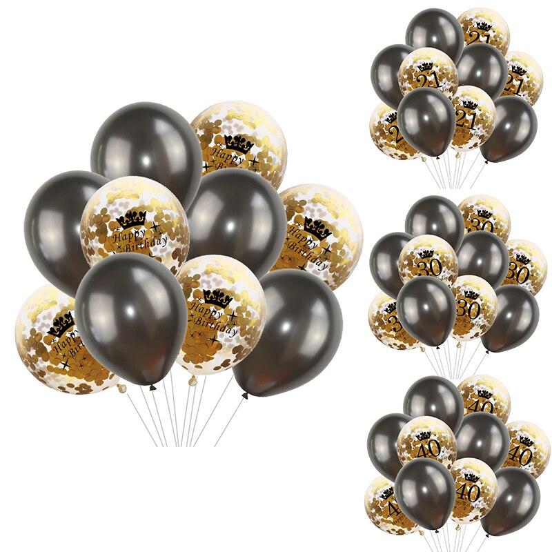 10pcs Happy Birthday 21 30 40 50 Anniversary Birthday Decoration Adult Latex Confetti Balloon Number Helium Balloon