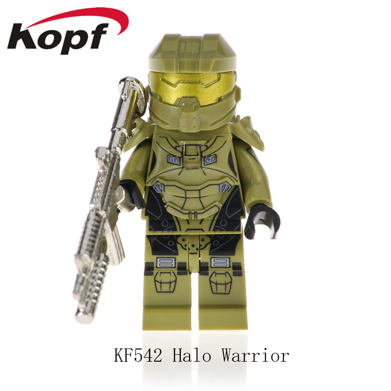 KF542 Single Sale Building Blocks Halo Spartan Solider With Real Metal Weapon Bricks Action Figures Learning Gift Toys Children
