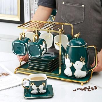 Taza de café de hueso de China, juego de taza de cerámica...