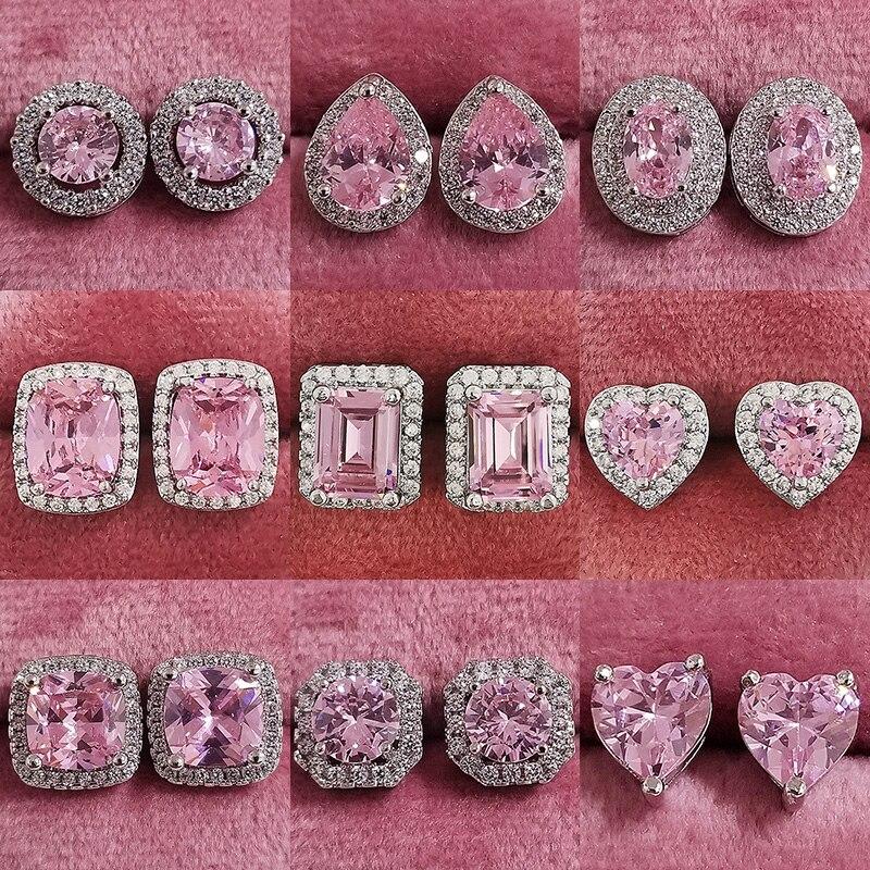 2021 New Arrivals Fashion Luxury 925 Sterling Silver Zircon Stud Pink Earing Earrings for Women Girl Party Gift Jewelry Z7