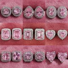 2021 neue Ankünfte Mode Luxus 925 Sterling Silber Zirkon Stud Rosa Earing Ohrringe für Frauen Mädchen Party Geschenk Schmuck Z7