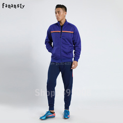 High Quality Tracksuit Football Set Men Soccer Training Jacket Suits Adult Customize Uniforms Kits Winter Sportswear 2019 New