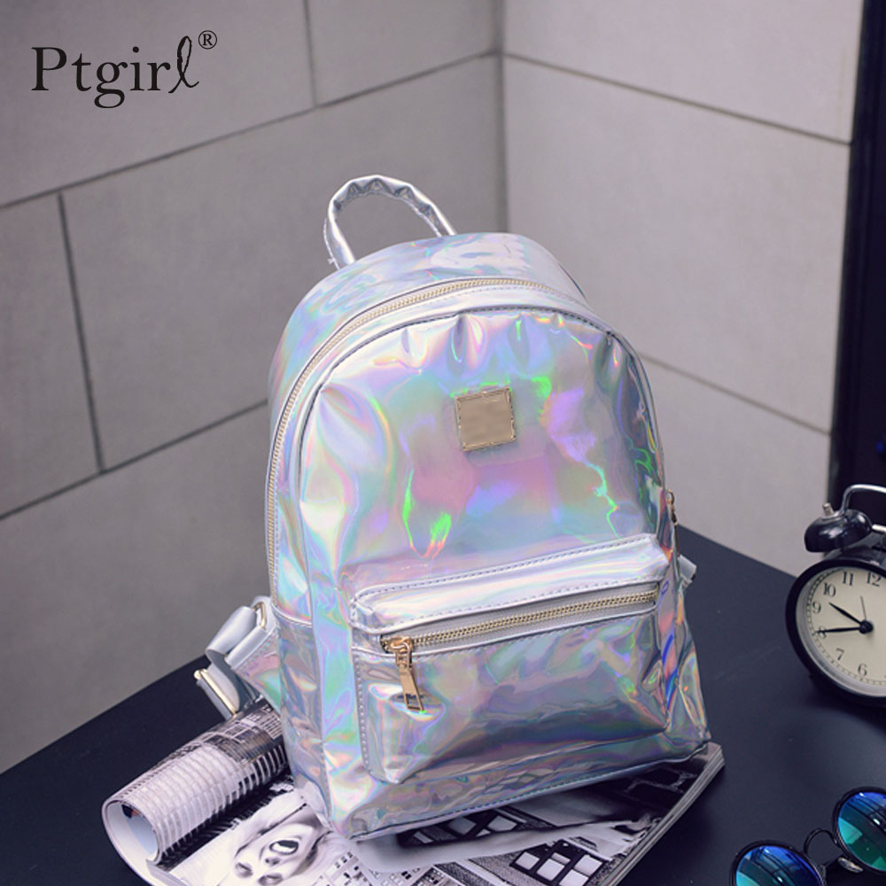 2019 Fashion Hip-hop Holographic Backpack Mochilas Feminina Women Silver Laser Back Pack Leather Bagpack School Bags Zaino