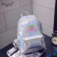 2019 moda hip-hop holográfica mochila feminina prata laser voltar pacote de couro bagpack sacos de escola zaino