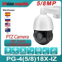 Hikvision – caméra de Surveillance PTZ IP PoE 5MP 8MP, Zoom optique 18X, portée IR 50M, IP66, IK10, avec support de détection de mouvement