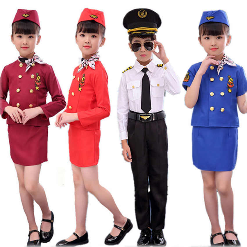 Child Stewardess Costume 3 Size For Fancy Dress Party