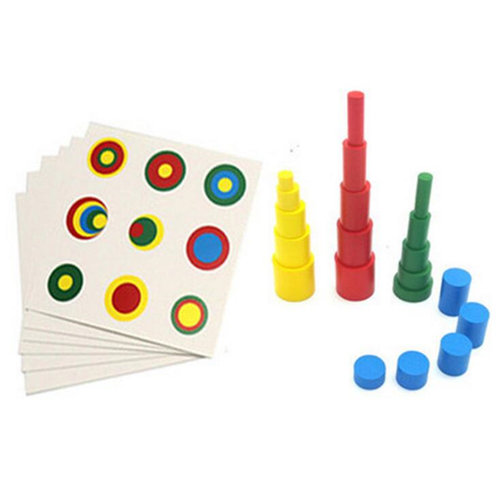 Montessori Wooden 4 Different Colorful Cylinders Educational Toys Kids Children Early Teaching Gift