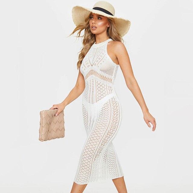 2021 New Sexy Hollow Knitted Beach Dress Sleeveless See-Through Holiday Long Skirt Bikini Cover Up Summer Beach Wear Swim Lady 1