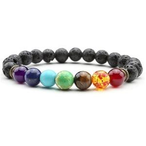 Image 5 - New Buddha Bless Lose Weight Chakra Bracelet Men Black Lava Healing Balance Beads Reiki Prayer Natural Stone Bracelet For Women