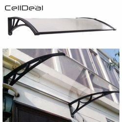 CellDeal 120x75 cm Puerta De Fácil ajuste toldo Ack porche exterior techo Patio cubierta abrigo de lluvia frente Hk protege de la lluvia solar