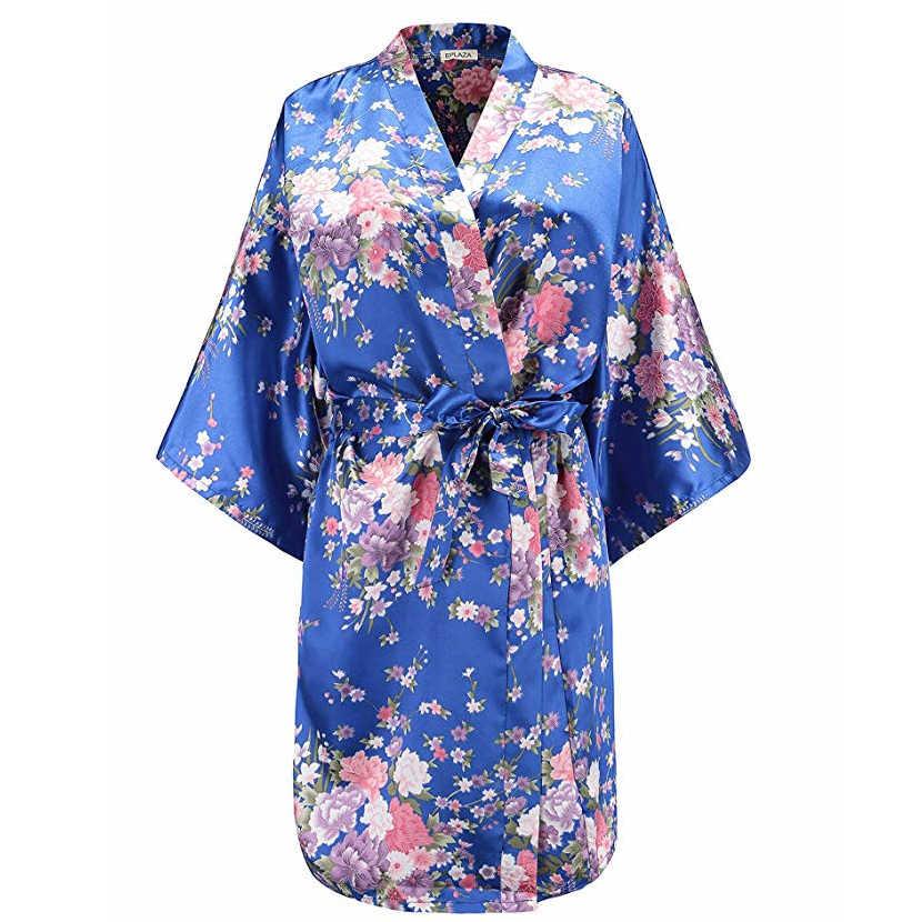 Kadın Sabahlık Kıyafeti Seksi Gelin Nedime Düğün Elbise Ev Giyim Baskı Çiçek Ev Tekstili Çiçek Gecelik Kimono