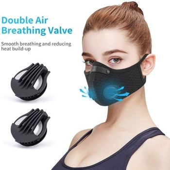 Sport Dust Masks 5 ply PM2.5 Activated Carbon Filter Double breathing valve Mesh Masks KN95 same as N95 2
