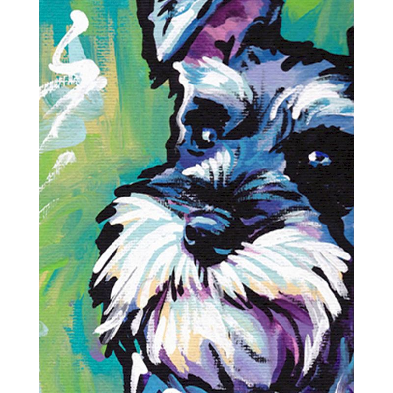 Painting By Numbers DIY Blue-haired dog Modern Wall Art Canvas Hand Painted Oil Painting For Home Decor Frame Adults Gift Framed-0