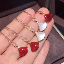 18K rose gold Sector necklace White fritillary Carnelian red moissanite clavicle female pendant